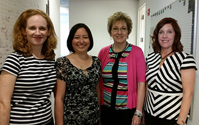 Patience Bloom, Tina James, Cheryl St.John, Sherri Shackelford at the Harlequin offices in New York City